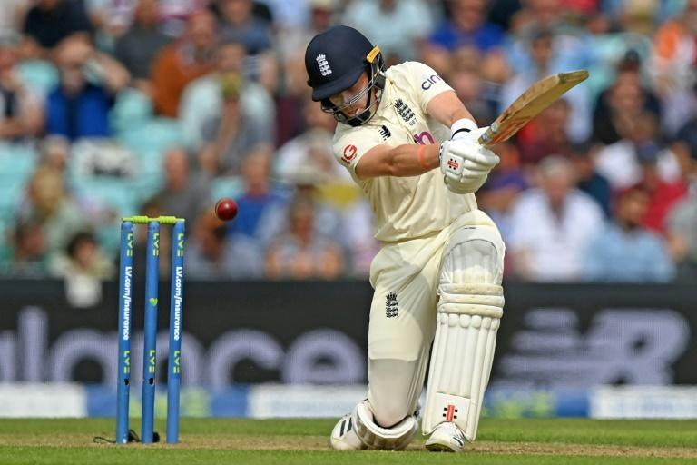 Counter-attack: England's Ollie Pope hits out on the second day of the fourth Test against India at the Oval (AFP/DANIEL LEAL-OLIVAS)