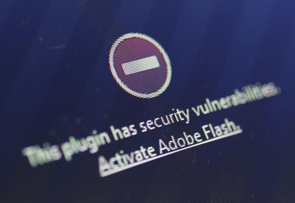 A window on the Mozilla Firefox browser shows the browser has blocked the Adobe Flash plugin from activating due to a security issue on July 14, 2015 in Berlin, Germany (Getty Images)