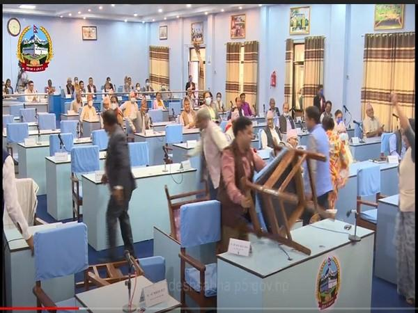 Lawmakers from the opposition Nepali Congress vandalising properties of the state Assembly. Photo/ANI
