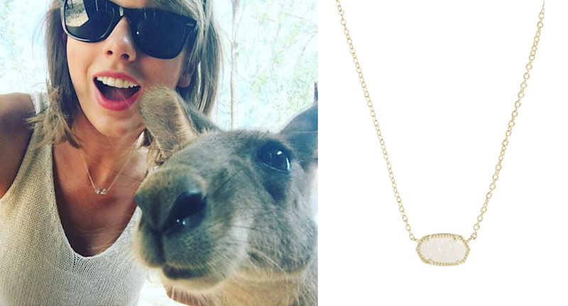 Taylor Swift seen wearing the Kendra Scott Elisa Pendant Necklace. Images courtesy of Instagram/TaylorSwift, Nordstrom.