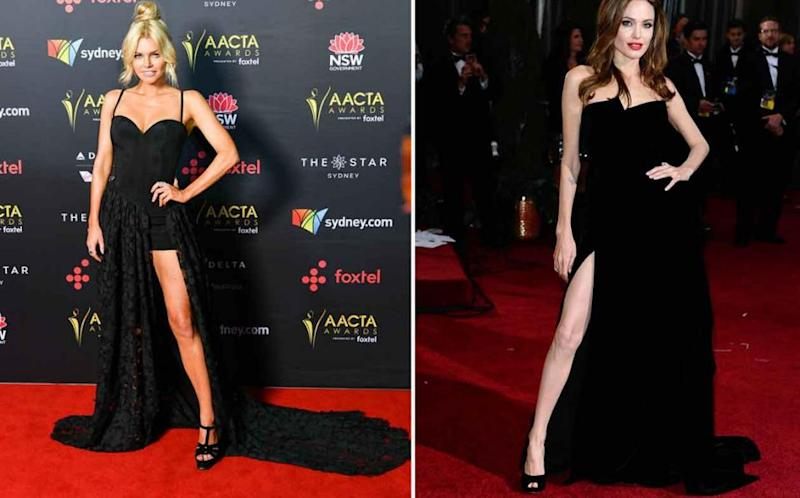 Sophie may have taken some notes from Angelina Jolie circa 2012 on her posing at this year's AACTAs. Source: Media Mode / Getty