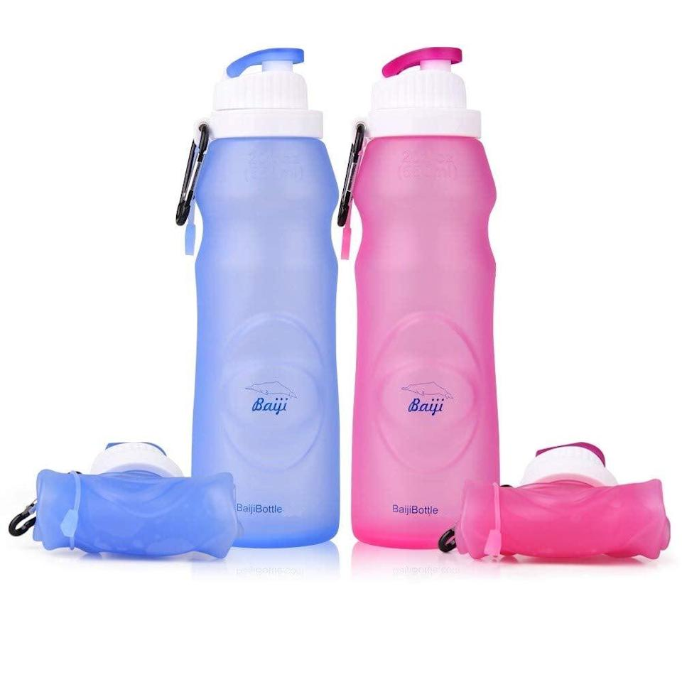 <p>In an effort to give up plastic bottles this year, I invested in these <span>Collapsible Water Bottles</span> ($13). They're easy to fold up and store away without taking up too much room in your bag.</p>