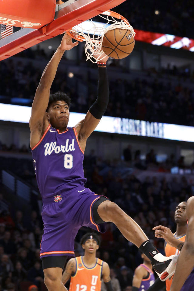 World forward Rui Hachimura, of the Washington Wizards, dunks against the United States during the first half of the NBA Rising Stars basketball game in Chicago, Friday, Feb. 14, 2020. (AP Photo/Nam Y. Huh)