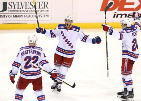 Dec 8, 2018; Sunrise, FL, USA; New York Rangers defenseman Fredrik Claesson (33) celebrates his goal against the Florida Panthers with defenseman Kevin Shattenkirk (22) and left wing Jimmy Vesey (26) in the third period at BB&T Center. Robert Mayer-USA TODAY Sports