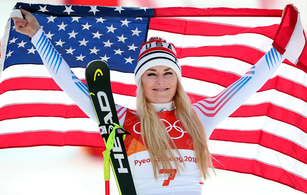 <p><strong>THE GOOD</strong><br />Lindsey Vonn:<br />Bronze medallist Lindsey Vonn of the United States celebrates during the victory ceremony for the Ladies' Downhill in PyeongChang. Lindsey put a feather in her cap by adding her second career bronze medal to go along with her Olympic gold medal in 2010. Vonn is the most decorated women's skier in US history, winning two World Championships and 81 total World Cup first-place finishes (Getty Images) </p>