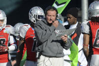 FILE - In this Nov. 27, 2010, file photo, then Las Vegas head coach Jim Fassel, center, looks on from the sideline during their United Football League title game against Florida in Omaha, Neb. Former New York Giants coach Jim Fassel has died. He was 71. Fassel was named NFL coach of the year in 1997 and led the team to the 2001 Super Bowl. Fassel's son confirmed the death to the Los Angeles Times on Monday. (AP Photo/Dave Weaver, File)