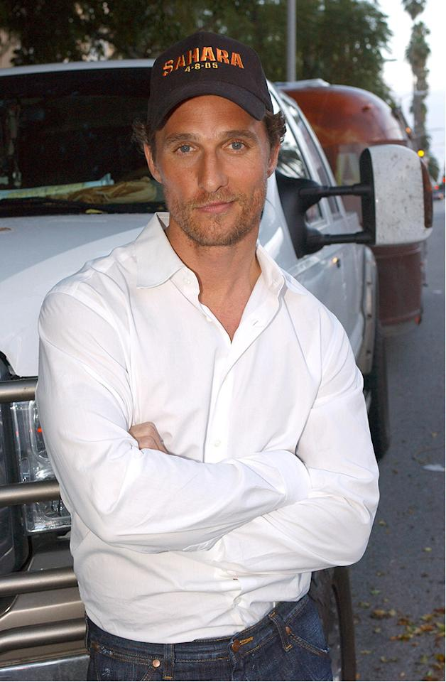 """<a href=""""http://movies.yahoo.com/movie/contributor/1800018907"""">Matthew McConaughey</a> at the Beverly Hills press conference for <a href=""""http://movies.yahoo.com/movie/1808405736/info"""">Sahara</a> - 04/21/2005"""