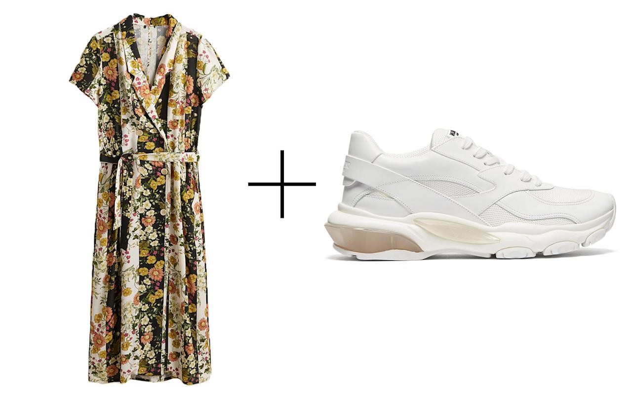 "<p>Bold '70s prints are having a fashion moment and this flowy Mango dress is the perfect way to be a part of it. It has a vintage shirt collar and an elastic waist with an adjustable drawstring for a custom fit. We love the juxtaposition of the dress's vibrant print and the simplicity of this pair of white Valentino trainers with chunky rubber soles.</p> <p>To buy: (dress) <a rel=""nofollow"" href=""http://www.anrdoezrs.net/links/7876402/type/dlg/sid/TL,14ChicDressandSneakerPairingstoTravelinThisFall,szypulsr,FAS,GAL,713035,201810,I/https://shop.mango.com/us/women/dresses-midi/floral-vintage-dress_33023836.html"">mango.com</a>, $80; (sneakers) <a rel=""nofollow"" href=""https://click.linksynergy.com/fs-bin/click?id=93xLBvPhAeE&subid=0&offerid=419081.1&type=10&tmpid=10147&RD_PARM1=https%253A%252F%252Fwww.matchesfashion.com%252Fus%252Fproducts%252FValentino-Bounce-low-top-leather-trainers-1218858&u1=TL,14ChicDressandSneakerPairingstoTravelinThisFall,szypulsr,FAS,GAL,713035,201810,I"">matchesfashion.com</a>, $845</p>"