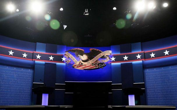 PHOTO: A general view of the stage prior to the start of the third U.S. presidential debate at the Thomas & Mack Center on Oct. 19, 2016 in Las Vegas, Nev. (Drew Angerer/Getty Images, FILE)