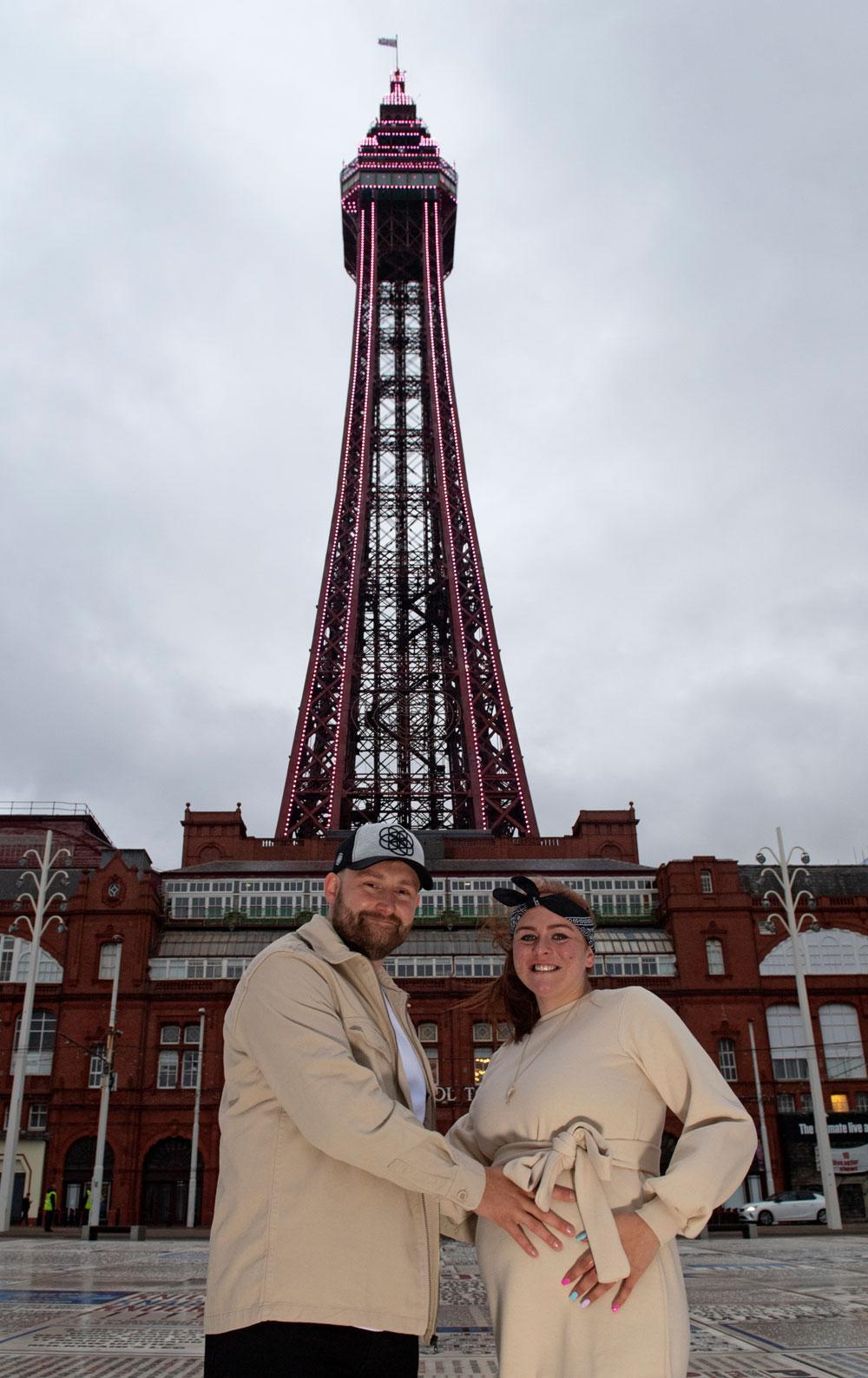 Nick Easton and Amberleigh Duckworth at their gender reveal (Dave Nelson/Visit Blackpool/PA)