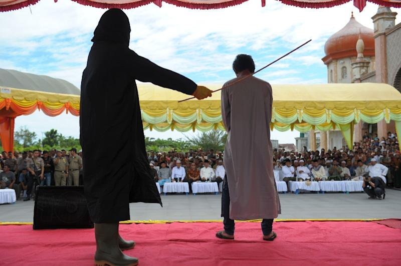 Aceh is the only province in the predominantly Muslim Indonesia that applies sharia law, and public canings for breaches of Islamic code happen on a regular basis (AFP Photo/Chaideer Mahyuddin)