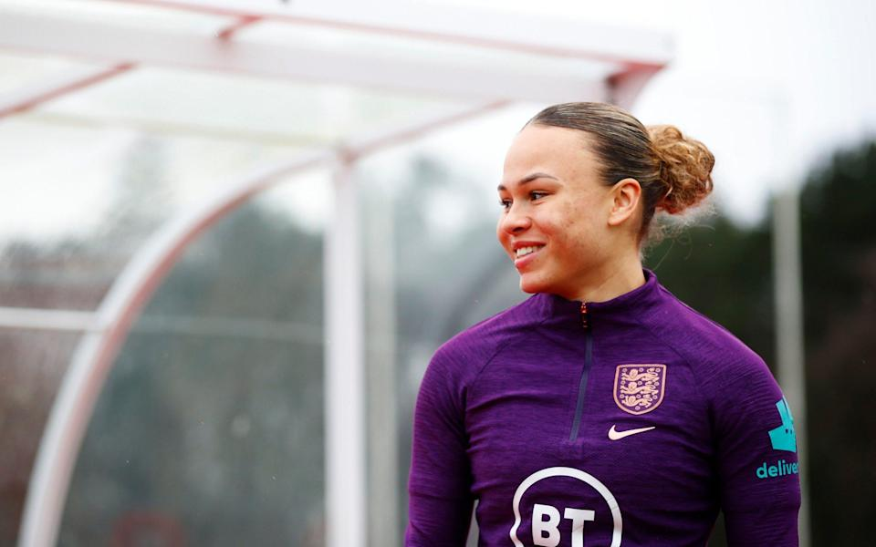 Ebony Salmon of England looks on during a training session ahead of an upcoming match - Getty Images