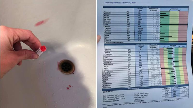 A woman using a lead testing kit (left) and the results from her son's tests showing that he had lead poisoning (right).