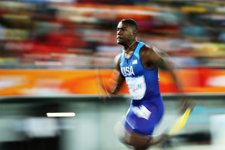 Justin Gatlin of the USA competes in the 4x100m relay final during the IAAF/BTC World Relays Bahamas 2017, at Thomas Robinson Stadium in Nassau, on April 22