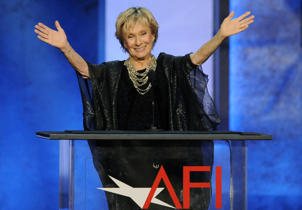"FILE - Actress Cloris Leachman gestures to honoree Mel Brooks in the audience during the American Film Institute's 41st Lifetime Achievement Award Gala on June 6, 2013, in Los Angeles. Leachman, a character actor whose depth of talent brought her an Oscar for the ""The Last Picture Show"" and Emmys for her comedic work in ""The Mary Tyler Moore Show"" and other TV series, has died. She was 94. (Photo by Chris Pizello/Invision/AP, FILE)"