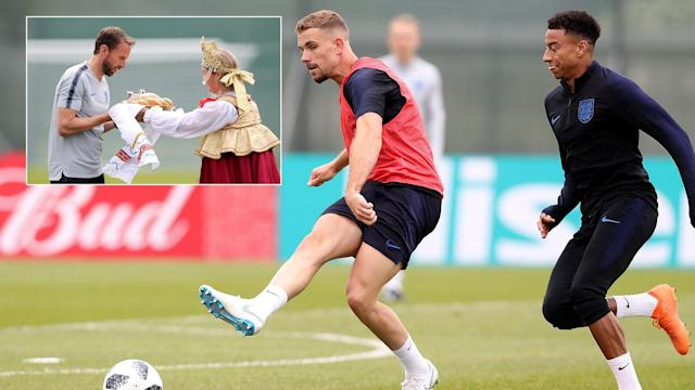 England have held their first training session after arriving in Russia.