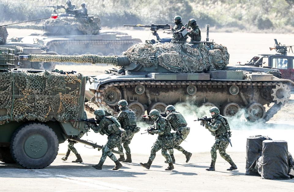 Members of Taiwan's armed forces carry out military exercise in January. Source: Getty