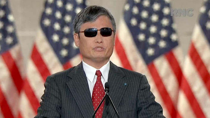 Chinese dissident Chen Guangcheng speaks during the Republican National Convention on Wednesday. (via Reuters TV)