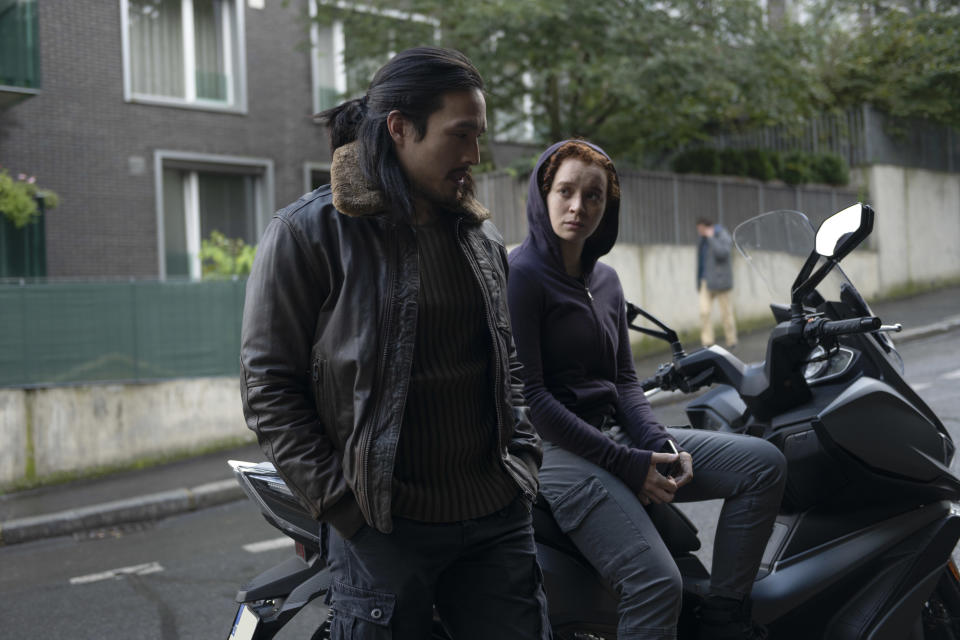 (L-R): Dovich (Desmond Chiam) and Karli Morgenthau (Erin Kellyman) in Marvel Studios' THE FALCON AND THE WINTER SOLDIER exclusively on Disney+. Photo by Julie Vrabelová. ©Marvel Studios 2021. All Rights Reserved.