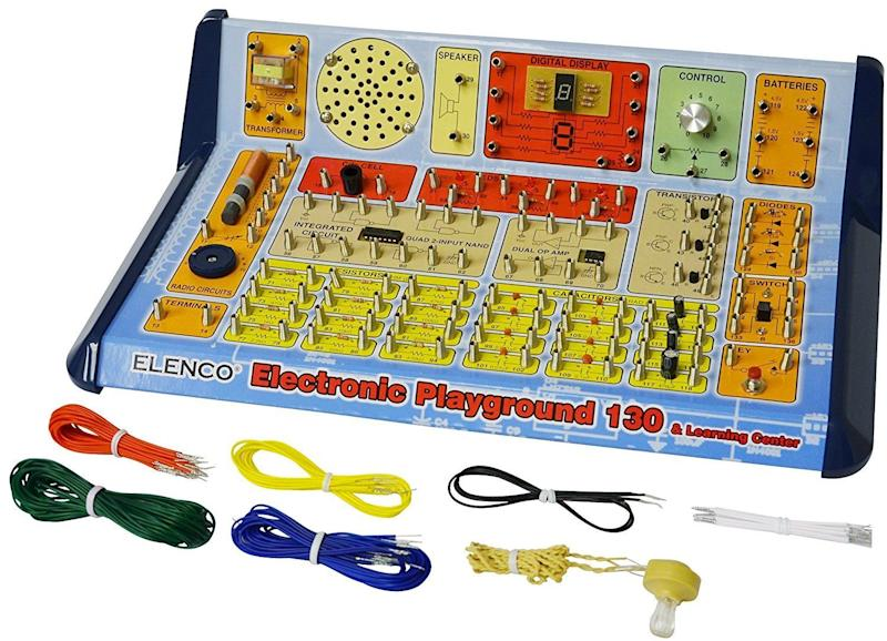 """This <a href=""""https://www.amazon.com/Elenco-Electronic-Playground-Learning-Center/dp/B0035XSZDI"""" target=""""_blank"""">electronics trainer</a>with 130 experiments is a problem-solving classic."""