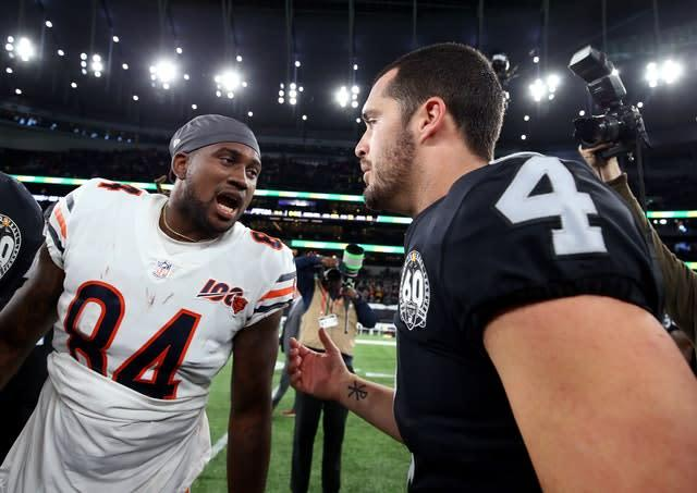 Derek Carr (right) believes facilities like Tottenham's will help change minds of other NFL players (Steven Paston/PA)