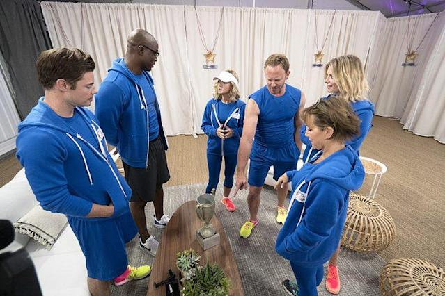 Josh Henderson, Demarcus Ware, Donna Mills, Ian Ziering, Gabrielle Carteris, and Mischa Barton on ABC's 'Battle of the Network Stars' (Photo Credit: ABC)