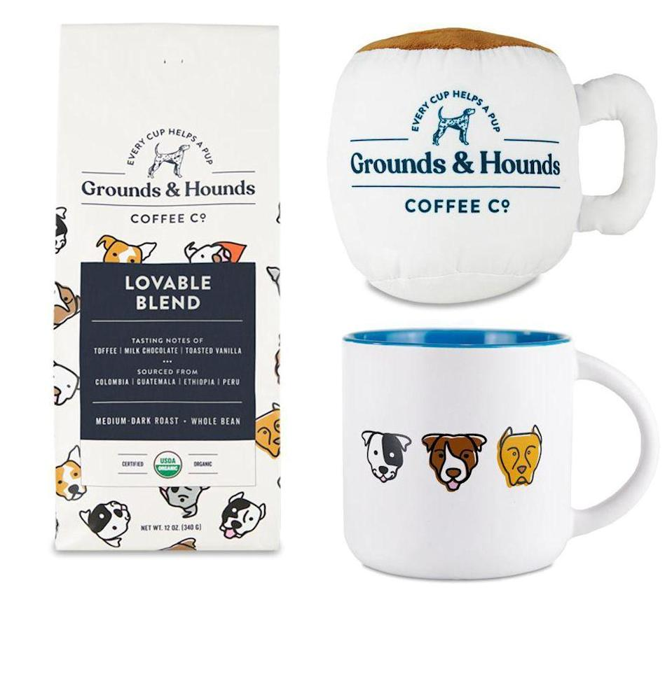 "<p><strong>Grounds & Hounds</strong></p><p>groundsandhoundscoffee.com</p><p><strong>$44.99</strong></p><p><a href=""https://groundsandhoundscoffee.com/collections/gift-ideas/products/sips-squeaks-bundle"" rel=""nofollow noopener"" target=""_blank"" data-ylk=""slk:Buy"" class=""link rapid-noclick-resp"">Buy</a></p><p>This gift bundle is more for dog owners than dogs themselves. In particular, rescue dog owners who'd get a kick out of a dog mug, a dog mug for their dog, and best of all, fresh coffee. Grounds and Hounds donates 20 percent of its proceeds to no-kill shelters.</p>"