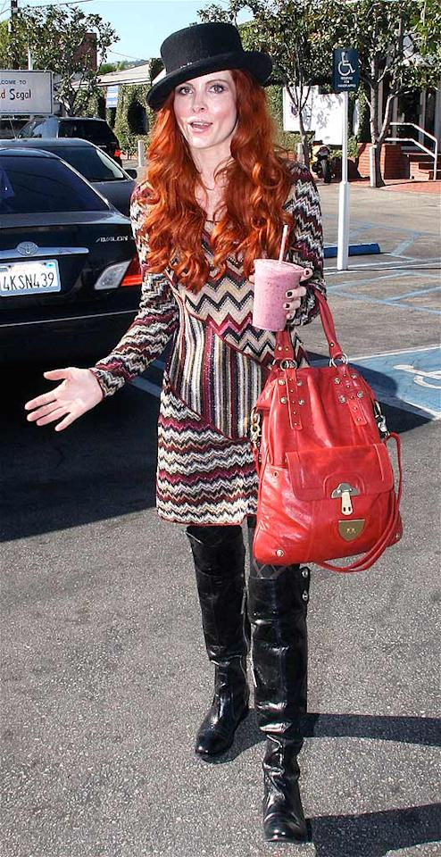 "Last but not least ... Phoebe Price. ""What Were They Thinking?!"" wouldn't be complete without an appearance from our favorite fashion offender! Zodiac/Fapian/<a href=""http://www.splashnewsonline.com"" target=""new"">Splash News</a> - November 5, 2008"