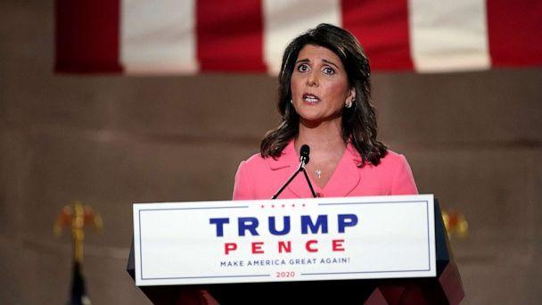 PHOTO: Former U.N. Ambassador Nikki Haley speaks during the Republican National Convention from the Andrew W. Mellon Auditorium in Washington, Aug. 24, 2020. (Susan Walsh/AP)