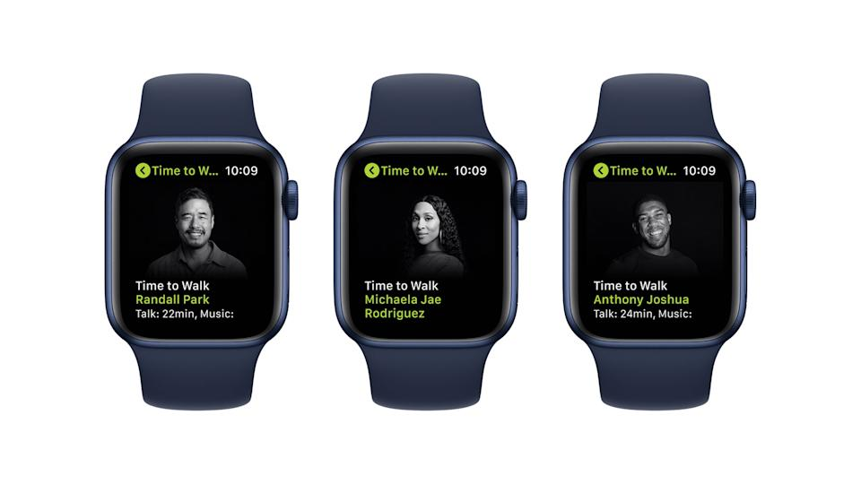 Apple Fitness+ Time To Walk. Three Apple Watches each featuring an episode from Season 2 of Time To Walk. Guests featured from left to right: Randall Park, Michaela Jae Rodriguez and Anthony Joshua.