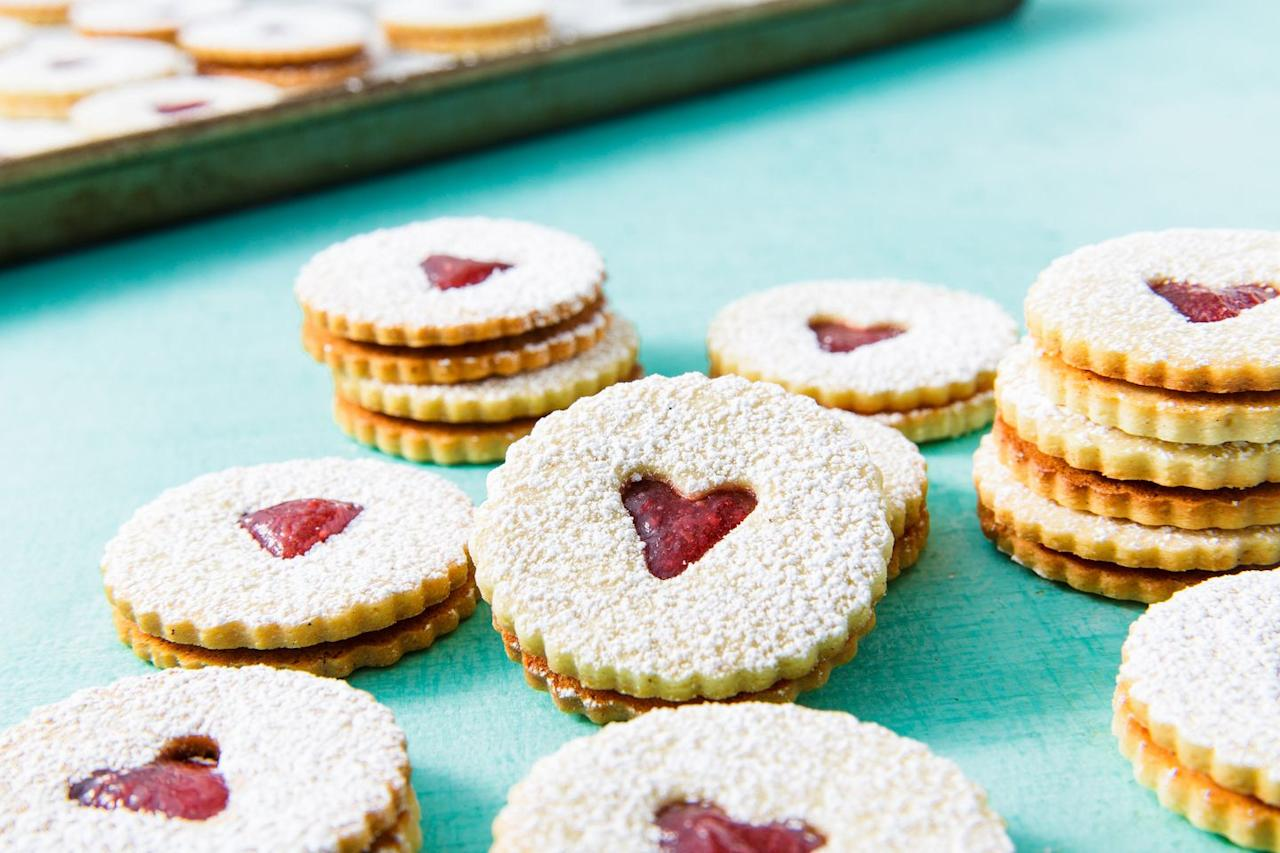 "<p>Copycat Jammie Dodger! We love the combination of the flavourful, rich cookie and the sweet fruity jam.</p><p>Get the <a href=""https://www.delish.com/uk/cooking/recipes/a28976870/classic-linzer-cookies-recipe/"" target=""_blank"">Jam Sandwich Biscuits</a> recipe. </p>"