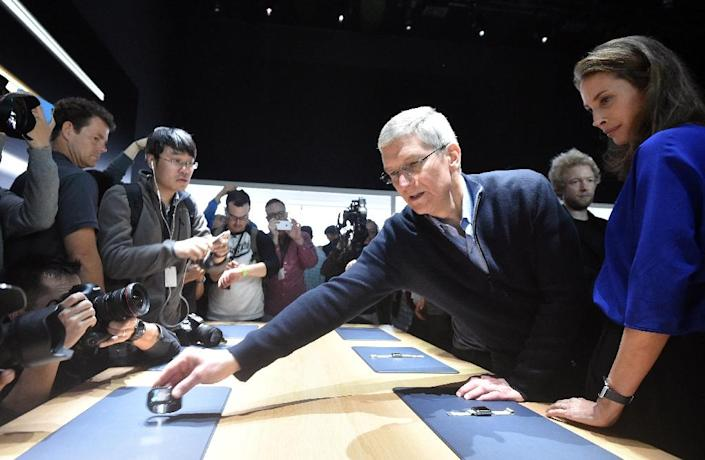 Apple CEO Tim Cook during an Apple media event at the Yerba Buena Center for the Arts in San Francisco, California on March 9, 2015 (AFP Photo/Josh Edelson)