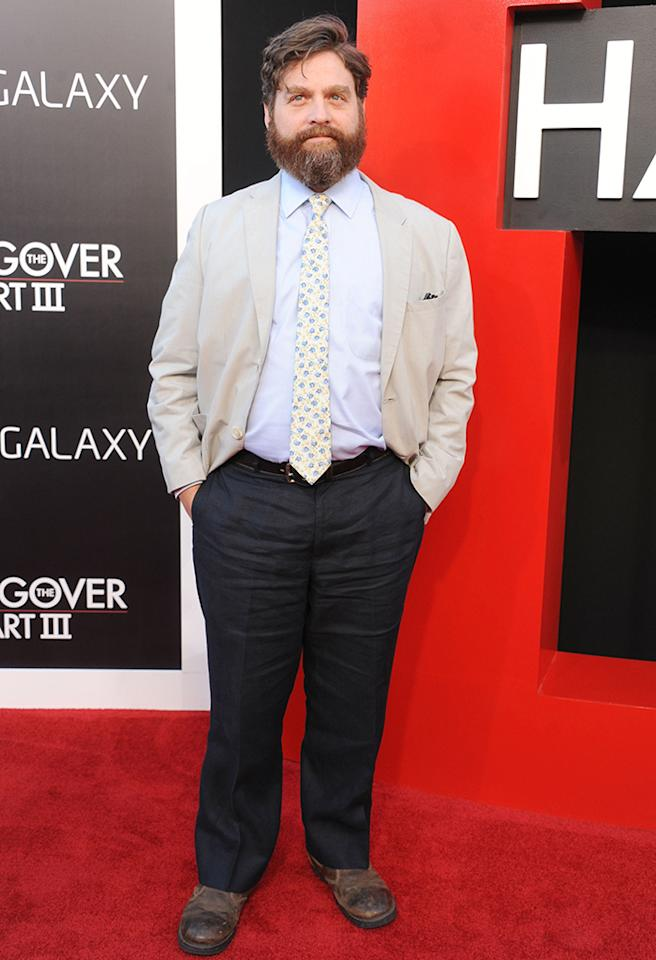 "WESTWOOD, CA - MAY 20: Actor Zach Galifianakis arrives at the Los Angeles premiere of ""The Hangover III"" at Mann's Village Theatre on May 20, 2013 in Westwood, California.  (Photo by Gregg DeGuire/WireImage)"