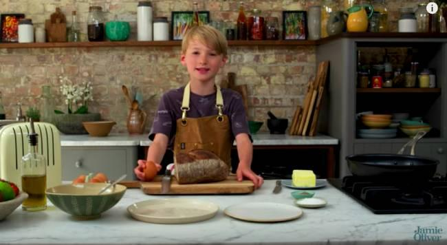 Buddy Oliver making his presenting debut (Credit: Jamie Oliver/Youtube)