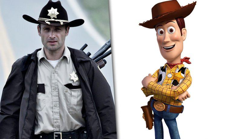Andrew Lincoln as Rick Grimes in AMC's 'The Walking Dead' and Woody from Disney's 'Toy Story'. (Photo Credit: AMC/Buena Vista Pictures)