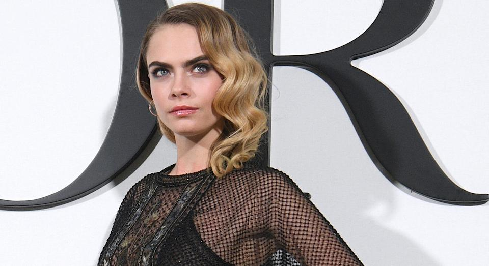 Cara Delevigne at Paris Fashion Week, February 2020 (Getty)