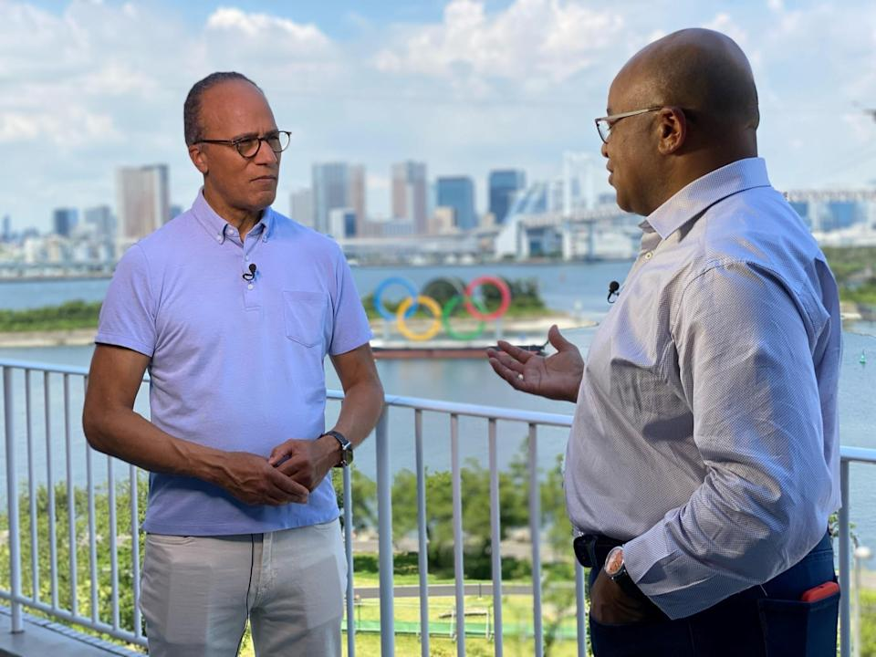Lester Holt with Mike Tirico. - Credit: Courtesy of NBC