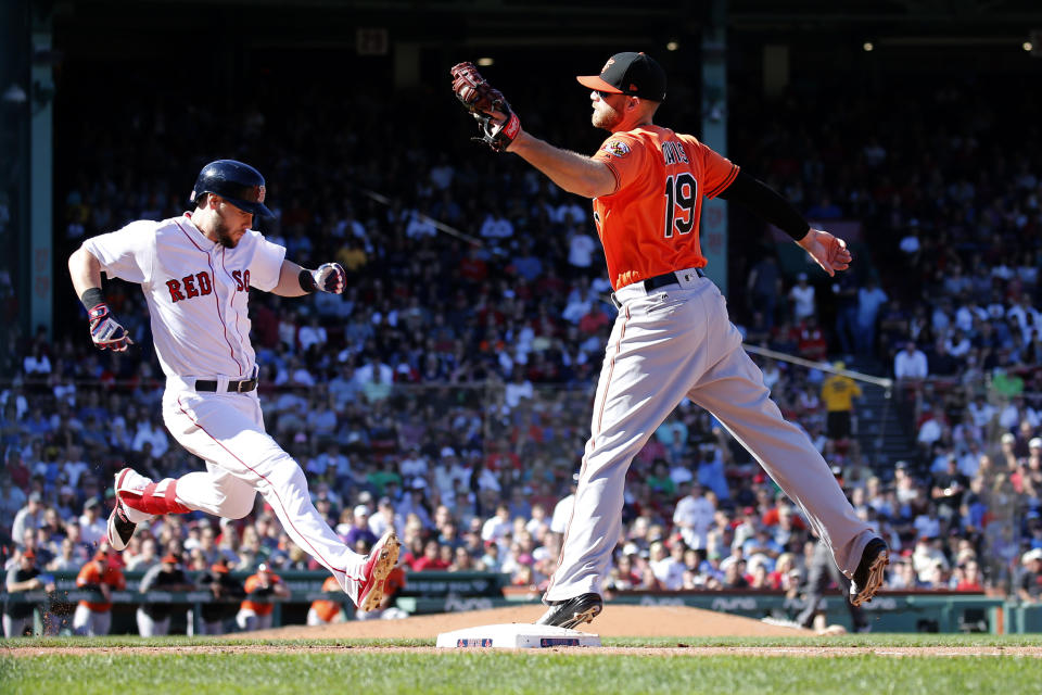 Baltimore Orioles first baseman Chris Davis (19) takes the throw for the out ahead of Boston Red Sox baserunner Chris Owings during the fourth inning of a baseball game, Saturday, Sept. 28, 2019, in Boston. (AP Photo/Mary Schwalm)