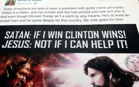 A Facebook ad linked to a Russian effort to disrupt the American political process - Credit: AP