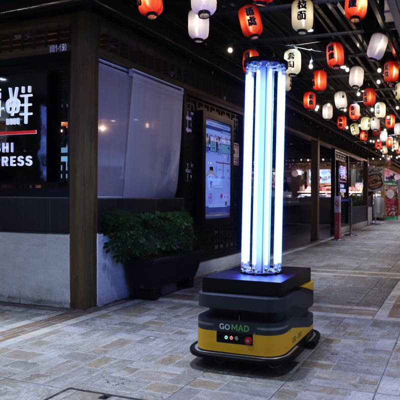 Trial run of the UV-disinfecting autonomous mobile robot at Northpoint City in April. [PHOTO: Frasers Property and PBA Group)
