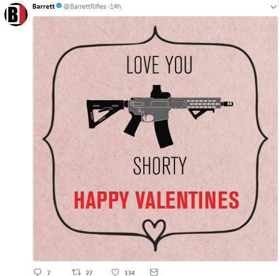 An image posted on Twitter by firearms manufacturer Barrett shortly before a gunman opened fire at a Florida high school (Twitter)