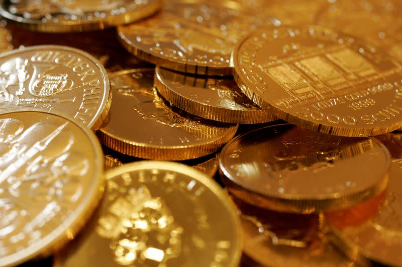 FILE PHOTO: Gold coins are displayed at Ginza Tanaka store in Tokyo