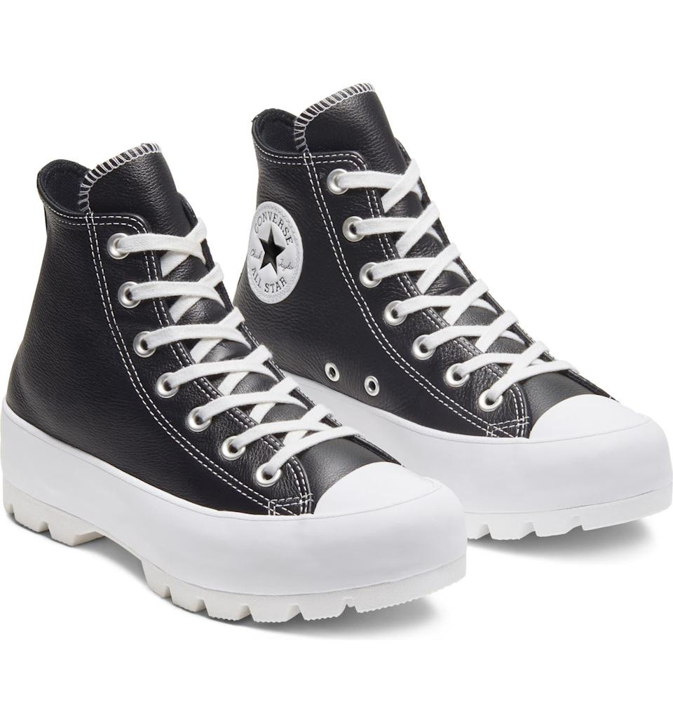 """<br><br><strong>Converse</strong> Chuck Taylor® All Star® Lugged High Top Sneaker, $, available at <a href=""""https://go.skimresources.com/?id=30283X879131&url=https%3A%2F%2Fwww.nordstrom.com%2Fs%2Fconverse-chuck-taylor-all-star-lugged-high-top-sneaker-women%2F5608270"""" rel=""""nofollow noopener"""" target=""""_blank"""" data-ylk=""""slk:Nordstrom"""" class=""""link rapid-noclick-resp"""">Nordstrom</a>"""