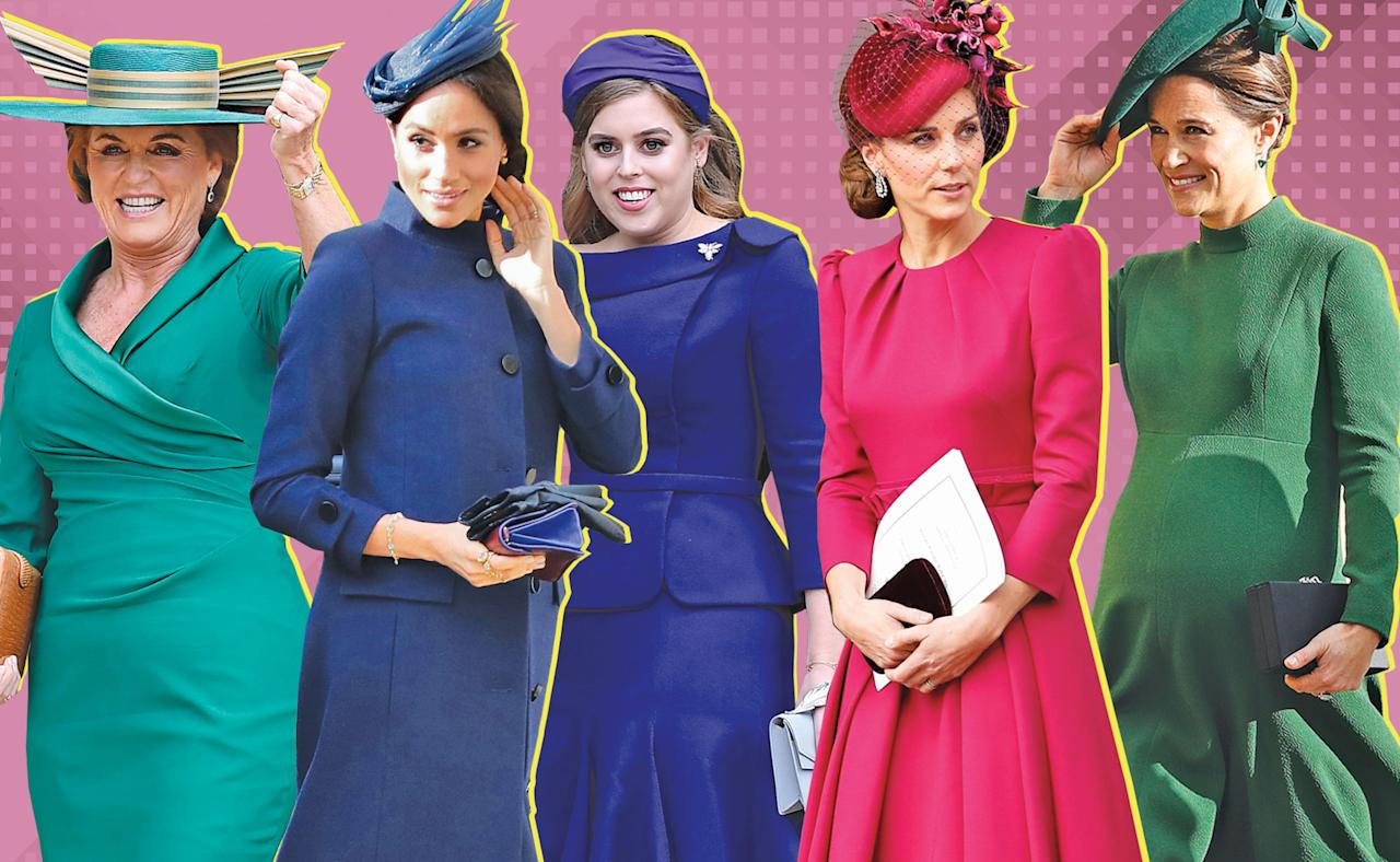 <p>The royal family rocked jewel tones from emerald and sapphire to ruby for Princess Eugenie's wedding. (Photo: Getty Images; Art: Priscilla De Castro for Yahoo Lifestyle) </p>