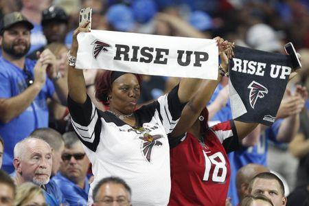 Sep 24, 2017; Detroit, MI, USA; Atlanta Falcons fans hold up rise up towels before the game against the Detroit Lions at Ford Field. Mandatory Credit: Raj Mehta-USA TODAY Sports