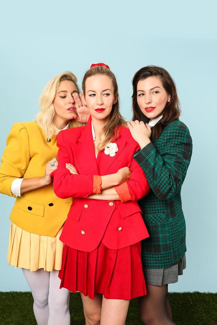 """<p>This costume is <em>so</em> very. Coordinate with your besties in power blazers, pleated skirts, and scrunchies to pull off this look fresh out of the cult '80s classic <em>Heathers</em>. Don't forget your croquet mallets for photo ops.</p><p><strong>See more at <a href=""""https://keikolynn.com/2016/10/heathers-group-costume-for-halloween/"""" rel=""""nofollow noopener"""" target=""""_blank"""" data-ylk=""""slk:Keiko Lynn"""" class=""""link rapid-noclick-resp"""">Keiko Lynn</a>.</strong></p><p><a class=""""link rapid-noclick-resp"""" href=""""https://www.amazon.com/Franklin-Sports-Starter-Player-Croquet/dp/B07H94FG73/ref=sr_1_1_sspa?tag=syn-yahoo-20&ascsubtag=%5Bartid%7C2164.g.37115224%5Bsrc%7Cyahoo-us"""" rel=""""nofollow noopener"""" target=""""_blank"""" data-ylk=""""slk:SHOP CROQUET MALLETS"""">SHOP CROQUET MALLETS</a></p>"""