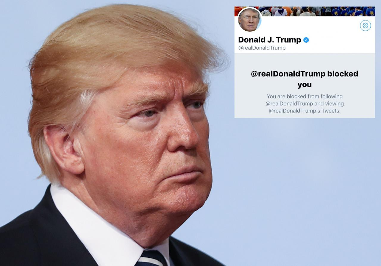 <p>Donald Trump is trigger happy when it comes to blocking people on Twitter. (Photo: PA/Twitter) </p>