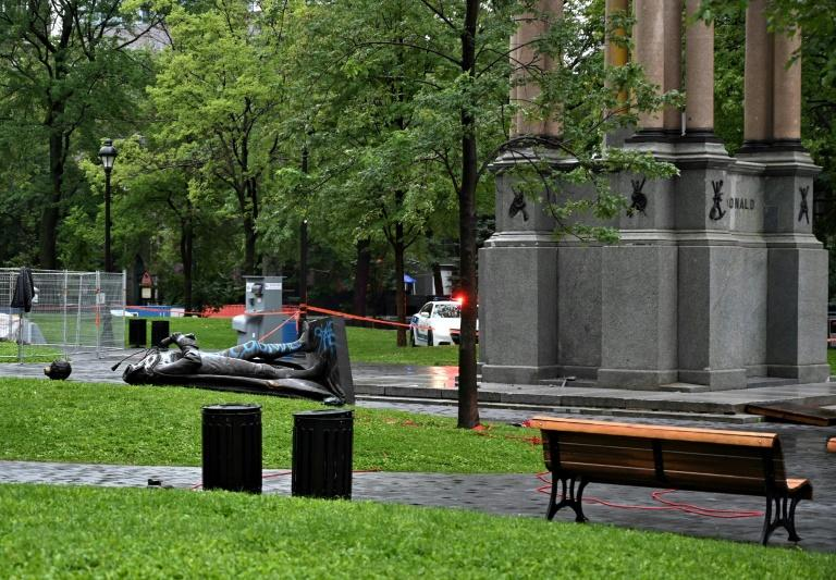 Trudeau condemns toppling of statue of Canada's first prime minister