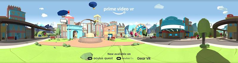 Amazon's Prime Video VR promo image with a digital landscape of attractions.