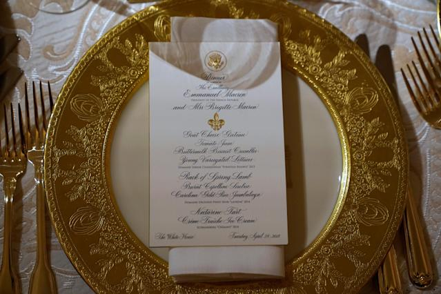 <p>A place setting for the State Dinner for French President Emmanuel Macron is shown in the State Dining Room of the White House in Washington, April 23, 2018. (Photo: Joshua Roberts/Reuters) </p>